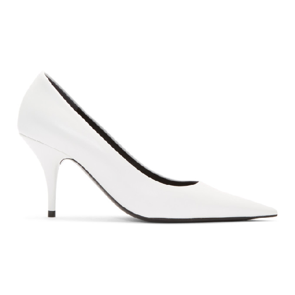 Balenciaga Knife Leather Pointed Toe Pumps In 9000 White