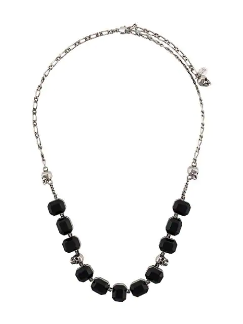 Alexander Mcqueen Gemstone Necklace - Silver In 1497 Black Silver