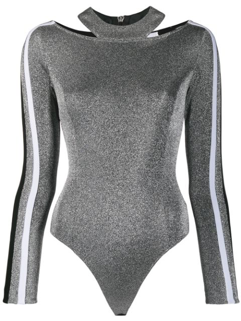 No Ka'oi Metallic Cut-out Body Top In Silver