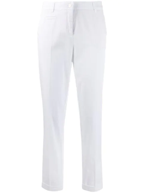 Cambio Creased Tapered Trousers In White