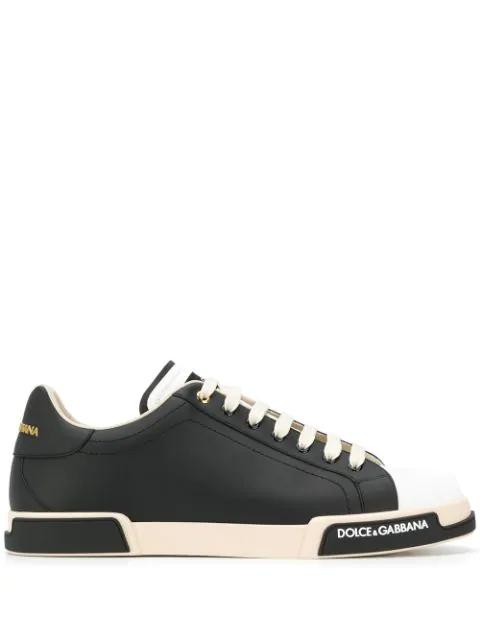 Dolce & Gabbana Portofino Two-Tone Nappa Sneakers In 89690
