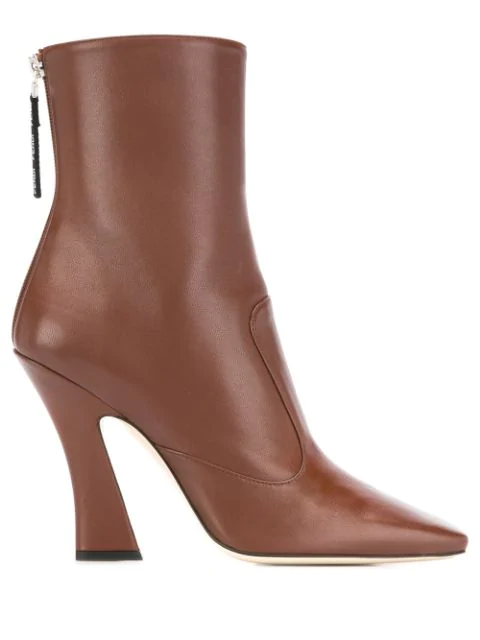 Fendi Ffreedom Square Toe Leather Ankle Boots In Brown