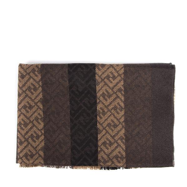 Fendi Brown Wool & Silk Scarf In Black