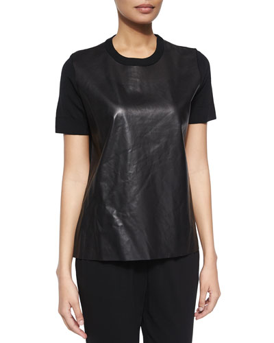 Michael Kors Short-Sleeve Combo Top, Black