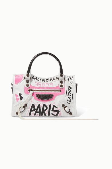 Balenciaga Classic City Mini Printed Textured-Leather Tote In White Pattern