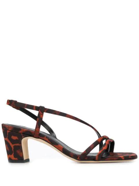 Sandro Leopard Print Sandals In Brown