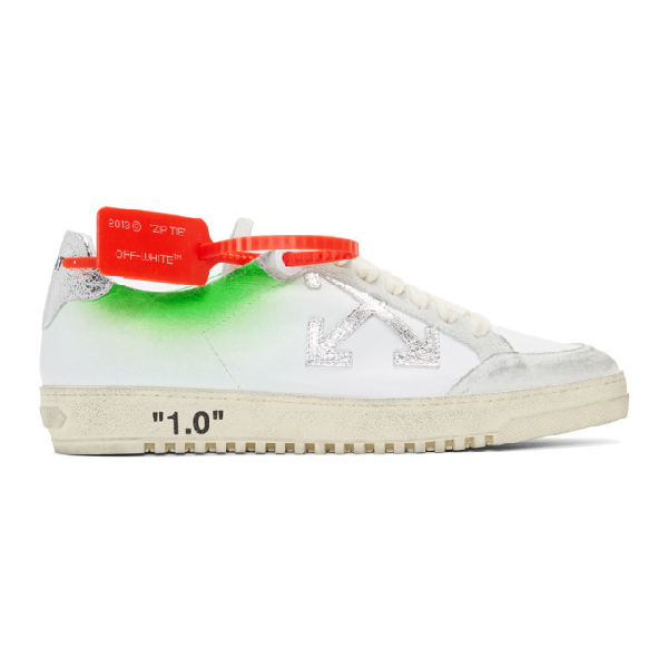Off-white 2.0 Distressed Suede-trimmed Leather Sneakers In White/green