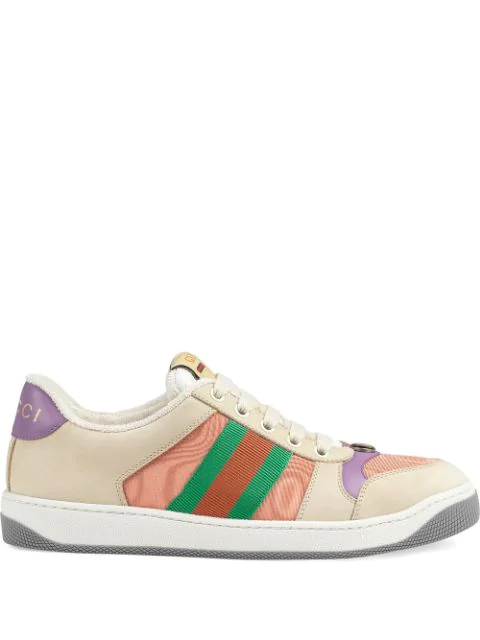 Gucci Multicolor Women's Pink And Purple Screener Sneakers In 2596 Bianco