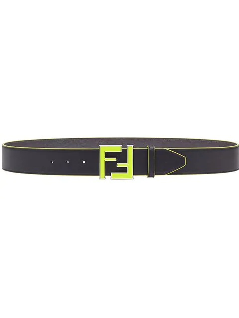 Fendi Double F Buckle Belt Neon Yellow In F17H2-Black +Yellow Fluo +