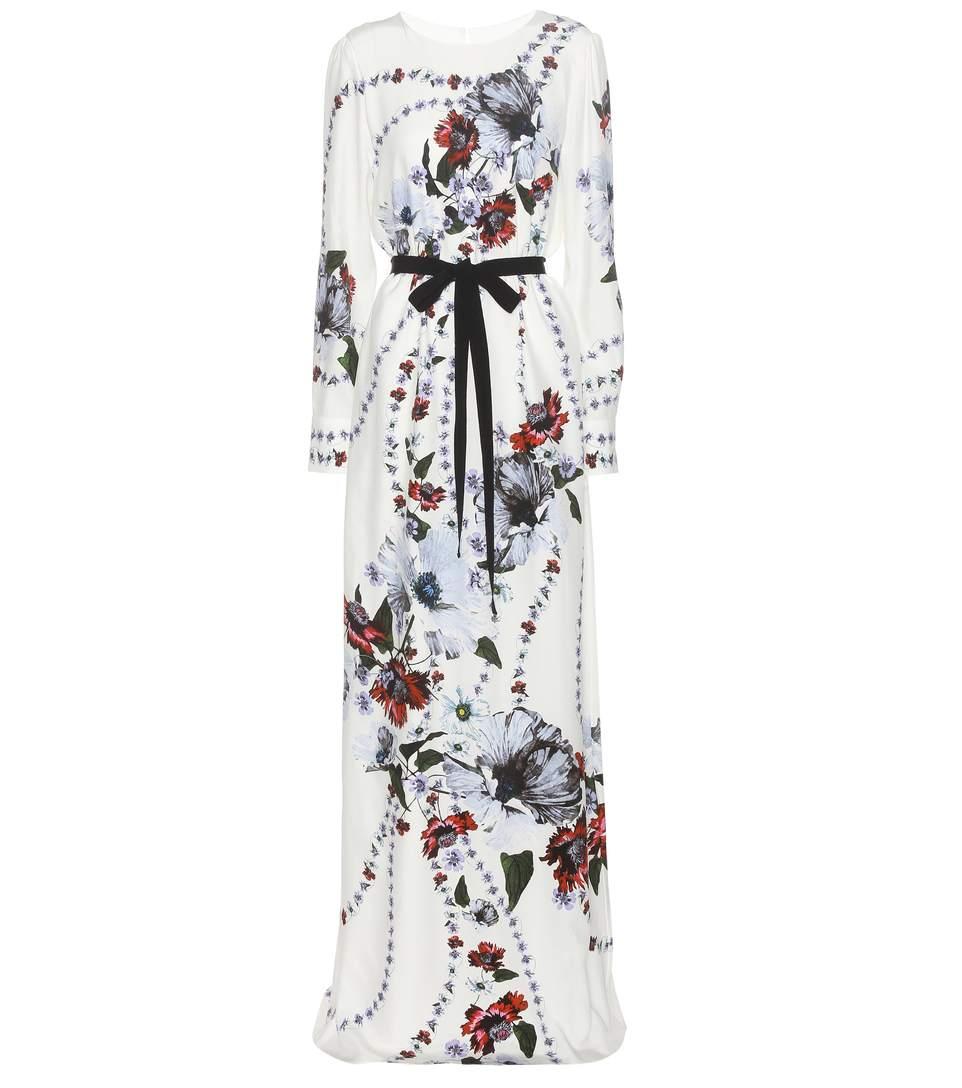 Erdem Agnes Printed Silk Dress In White