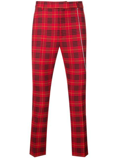 Garcons Infideles Neo Punk Tartan Pants In Red