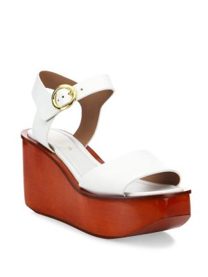 5535f1c180a Michael Kors Bridgette Leather Ankle-Strap Wedge Platform Sandals In Optic  White