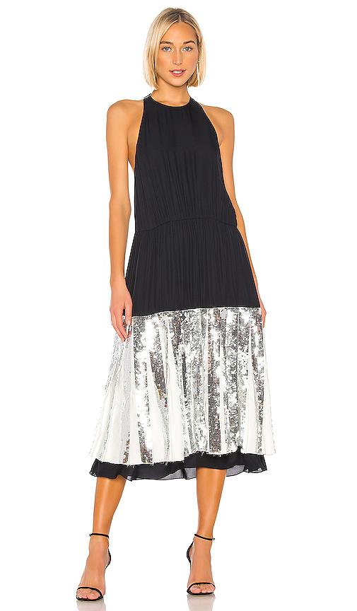 Tibi 'Claude' Sequin Panel Halterneck Silk Chiffon Dress In Navy Multi