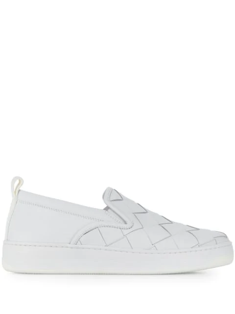 Bottega Veneta Men's Checkerboard Leather Sneakers In 9122-optwht