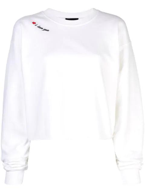 Cynthia Rowley I Love You Sweatshirt In White