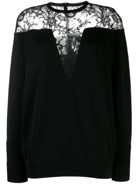 Givenchy Black Women's Lace Panel Sweater