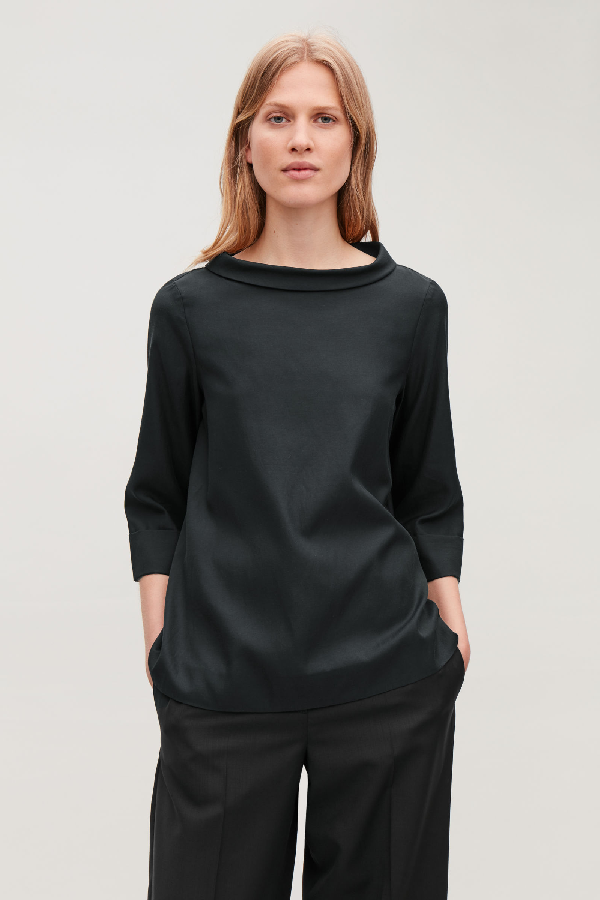 Cos Folded-collar Draped Blouse In Black
