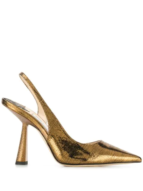 Jimmy Choo Fetto 100 Rust Metallic Lizard Print Pointed Toe Pumps In Gold