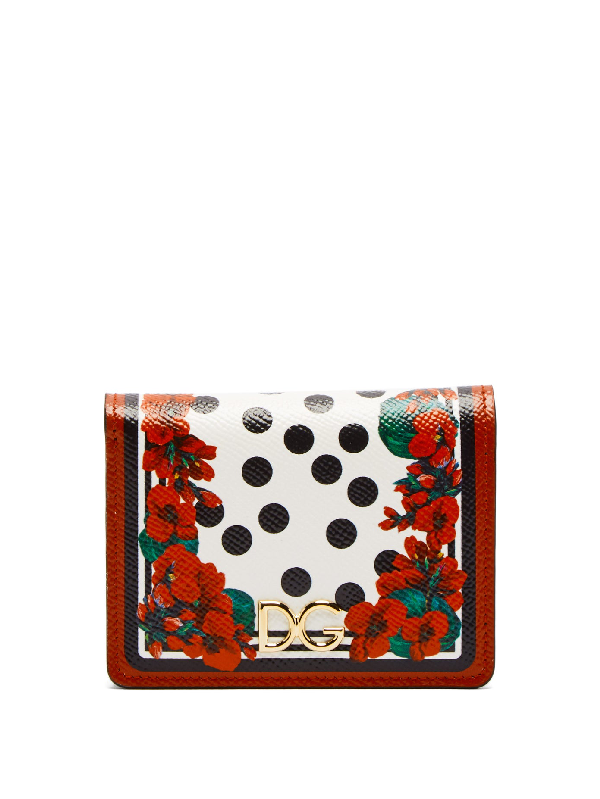 Dolce & Gabbana Geranium-Print Leather Wallet In Red Multi