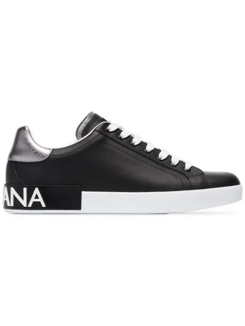 Dolce & Gabbana Men's Portofino Logo Leather Low-Top Sneakers In 8B979 Black/Argent