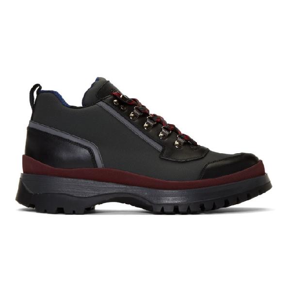Prada Brixxen Leather-trim Twill Trainers In F0ig6 Antra
