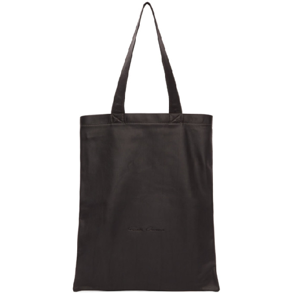 Rick Owens Logo-embroidered Leather Tote Bag In 09 Black