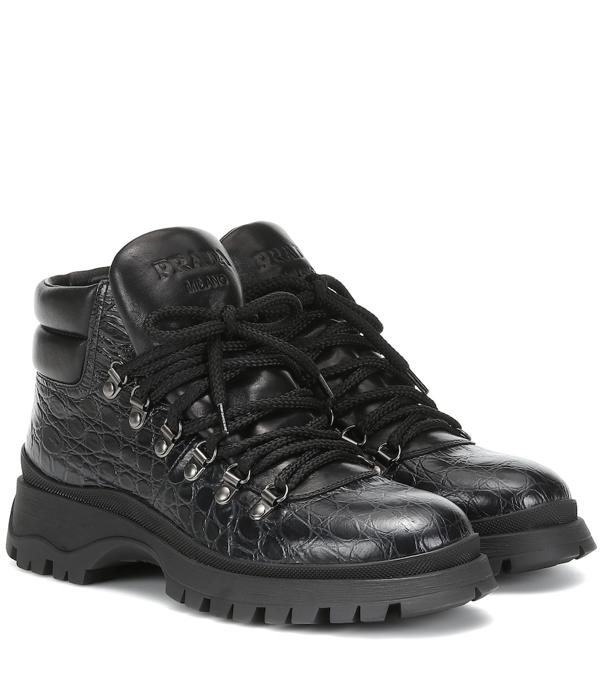 Prada Crocodile-effect Leather Hiking Boots In Black