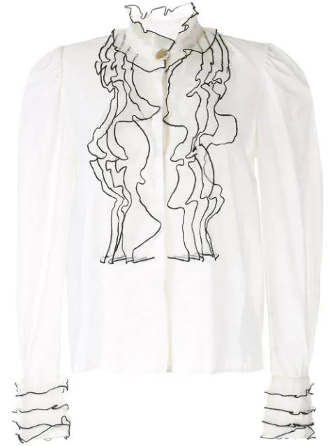 Aje Embroidered Blouse In White