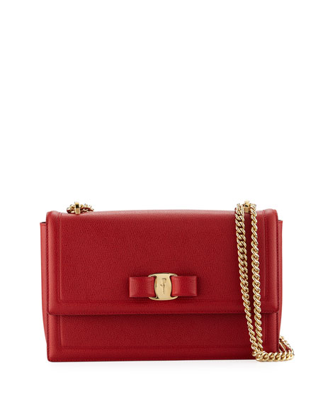 Salvatore Ferragamo Medium Ginny Grained Leather Bow Shoulder Bag - Red In Lipstick