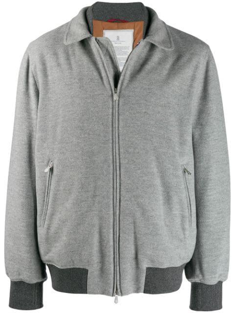 Brunello Cucinelli Contrasting Details Bomber Jacket In Grey