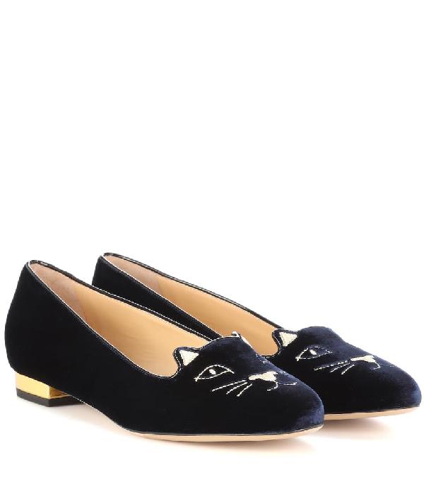 Charlotte Olympia Kitty Velvet Ballet Flats In Black/Gold