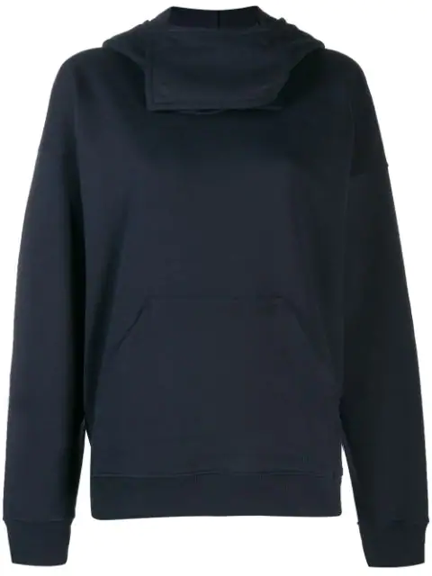 Jw Anderson Neck Panel Hooded Sweater In Blue