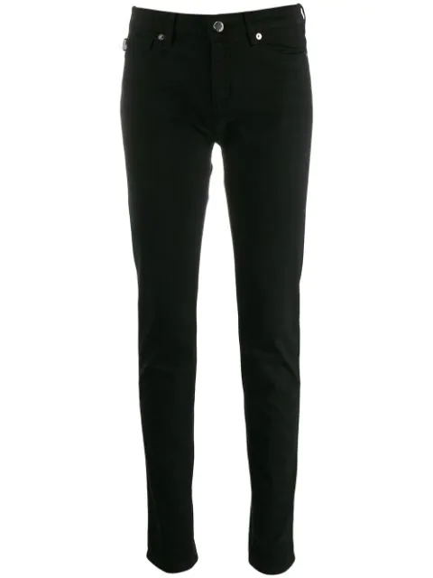 Love Moschino Embroidered Logo Skinny Trousers In Black