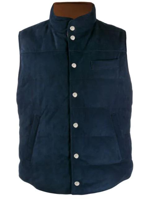 Brunello Cucinelli Reversible Waistcoat In Blue