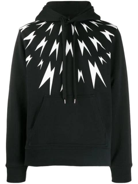 Neil Barrett Thunder Bolt Print Hoodie In Black