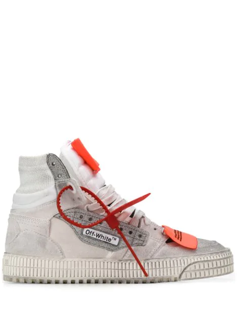 Off-White Off Court Logo-Embellished Distressed Suede, Canvas And Leather High-Top Sneakers In White