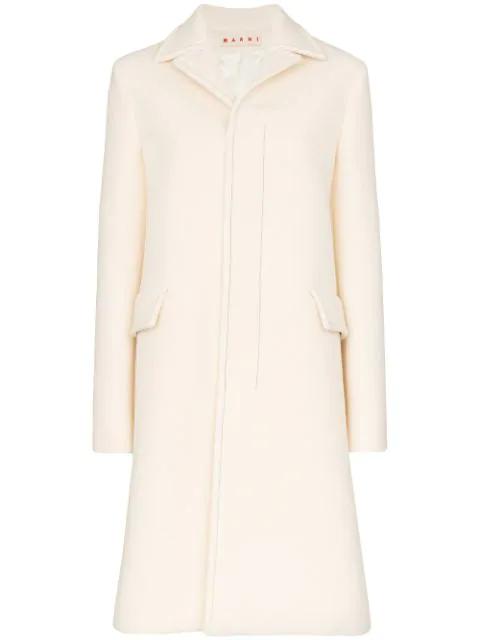Marni Single-breasted Coat In White