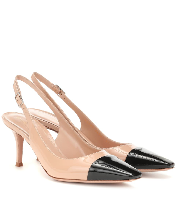 Gianvito Rossi Lucy 70 Two-tone Leather Slingback Pumps In Neutrals