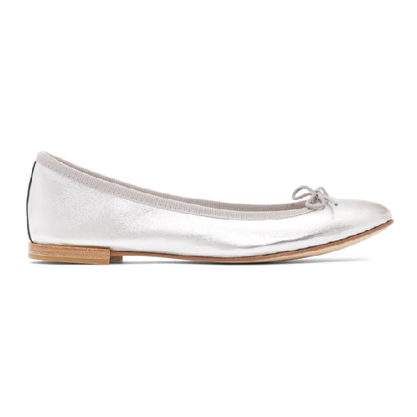 Repetto Cendrillon Leather Ballerina Flat In 020 Silver