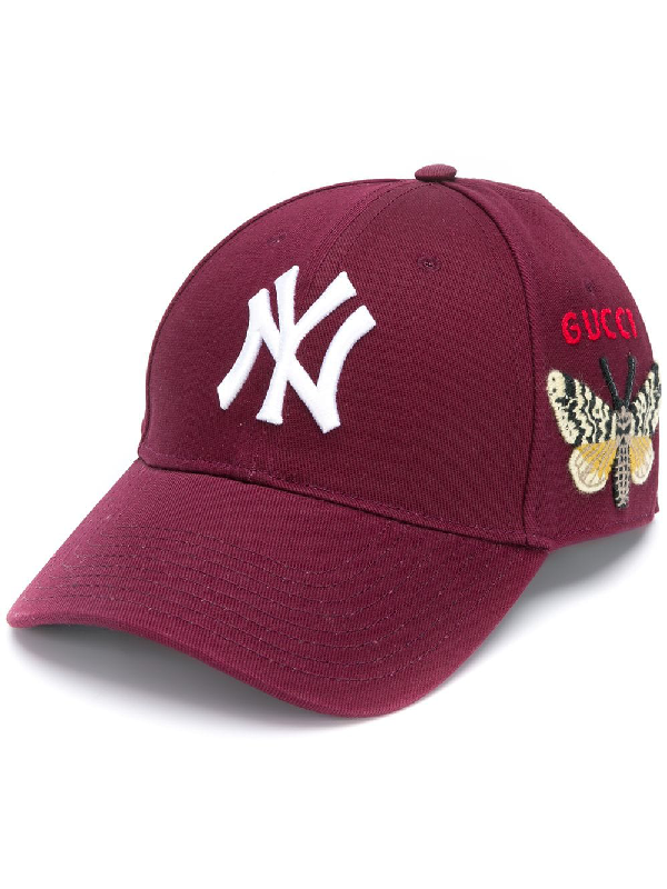 d920546b4 Gucci Embroidered Ny Yankees Logo Baseball Cap In Red | ModeSens