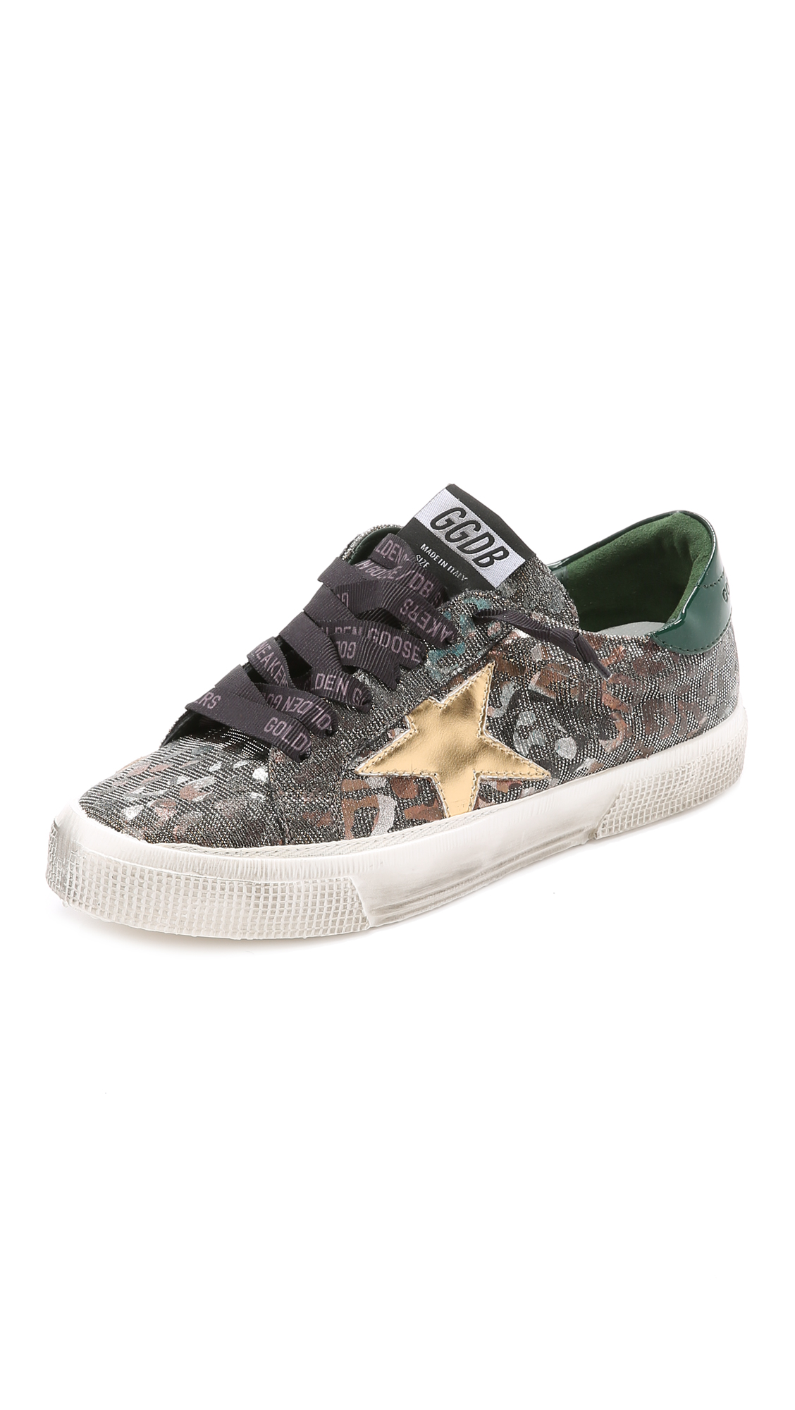 3d530285d260 Golden Goose Bronze Glittered Leopard Canvas And Green Leather 'May ...