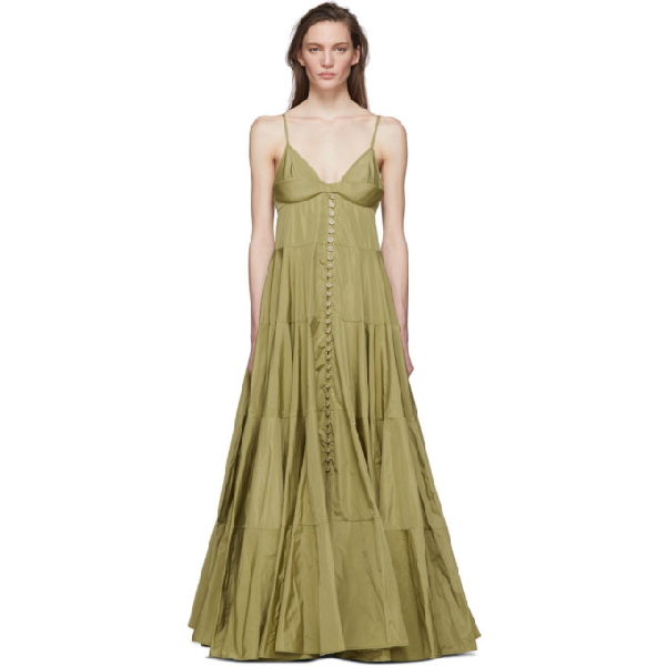 Jacquemus Manosque Bustier-panel Tiered Maxi Dress In Light Green