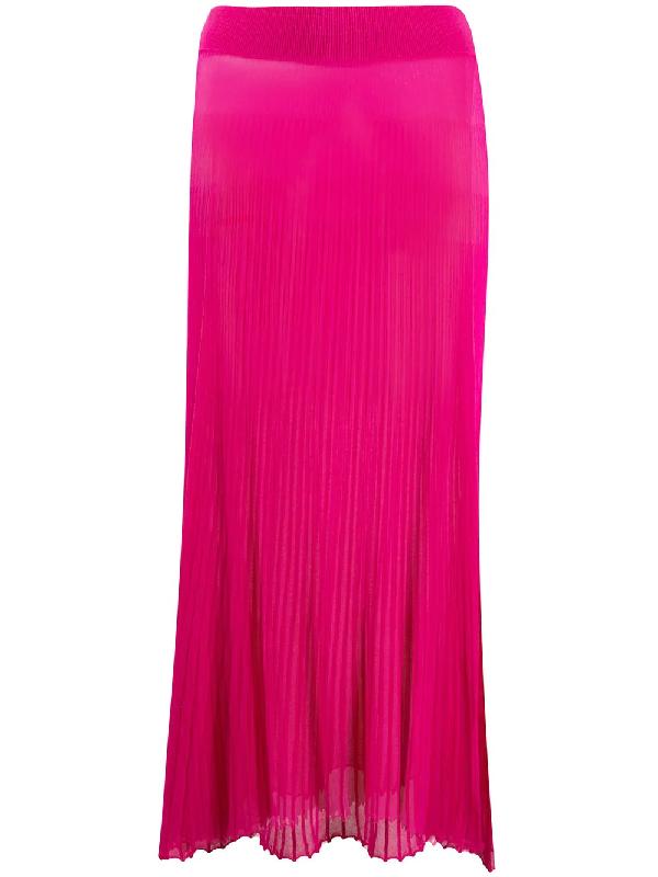 Jacquemus La Jupe Helado Longue Pleated Maxi Skirt In Pink
