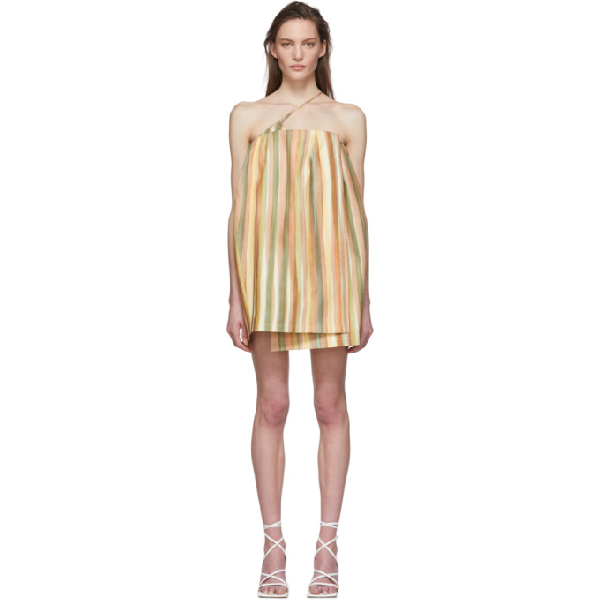 Jacquemus La Robe Soleil Striped Silk-blend Mini Dress In Print Stripe