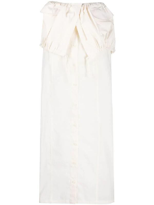 Jacquemus La Jupe Cueillette Drawstring Cotton-blend Maxi Skirt In White