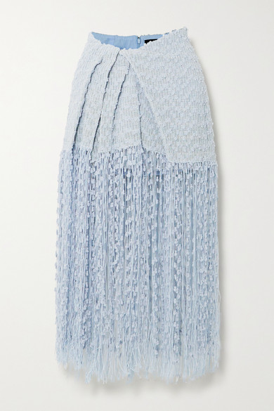 Jacquemus La Jupe Capri Fringed Linen-blend Midi Skirt In Light Blue