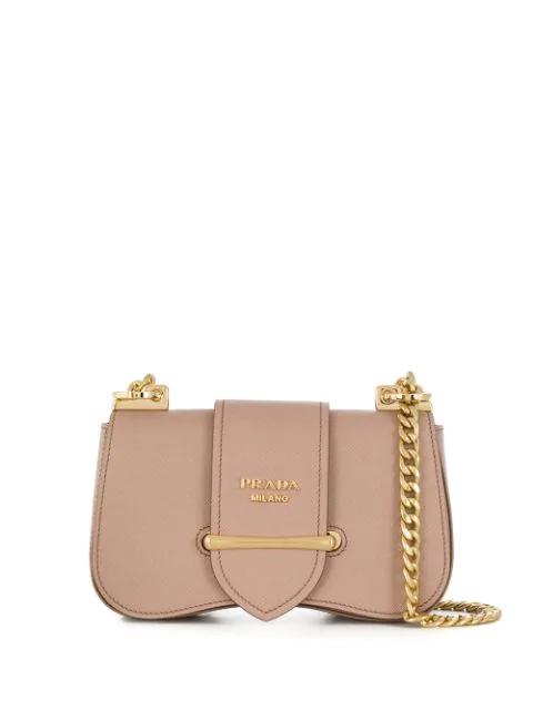 Prada Sidonie Leather Shoulder Bag In Neutrals