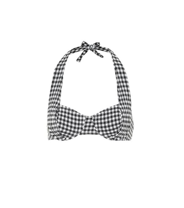 Solid & Striped Lana Gingham Halterneck Bikini Top In Black