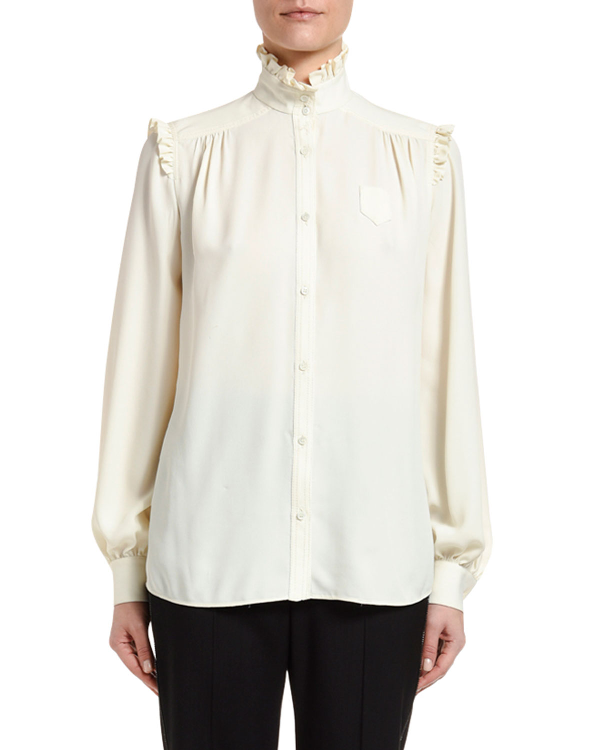 N°21 High-Neck Button-Down Blouse In Cream