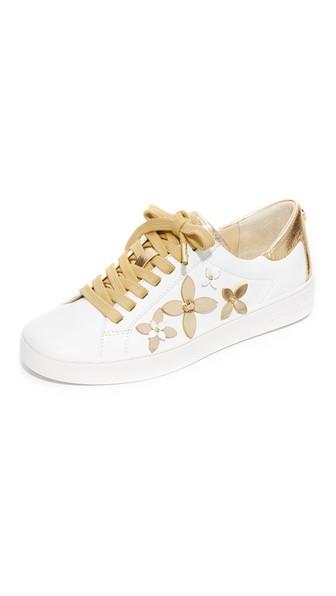 56b9da54efa8 Michael Michael Kors Lola Embellished-Leather Sneaker In Optic White Pale  Gold